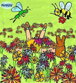 Giulia e Bubulone son distesi in mezzo ai fiori Immersi nei profumi e nei magnifici colori Ascoltan gli animali che son lì vicino a loro Frinire oppur ronzare ma che grande e immenso coro
