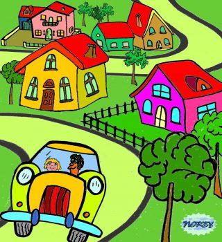 E' un po' che l'auto corre la città se ne sta andando, il paesaggio intorno piano, piano sta cambiando Le case non son più tutte vicine alte e stretteMa stan più larghe e comode le piccole casette