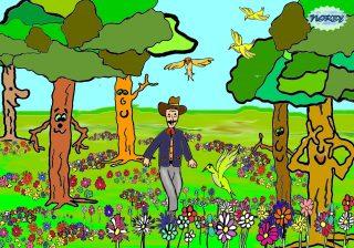 Ecco lo zio Gigi! Niente macchine qua intorno Solo un prato verde tanti alberi a contorno Niente clacson d'auto niente rombo di motori Cantan gli usignoli, ci son tanti e tanti fiori