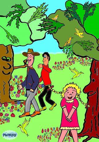 Vanno a camminare tutti e tre zio Gigi in testa Giulia guarda tutto gli ucellini gli fan festa Gli alberi maestosi con immensi e grandi rami Muovono le foglie come dita delle mani