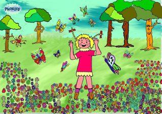 Le farfalle fanno intorno a Giulia un girotondo per darle il benvenuto dentro al loro verde mondo visto che in città molte farfalle non ci sono ma soltanto macchine motori e un gran frastuono
