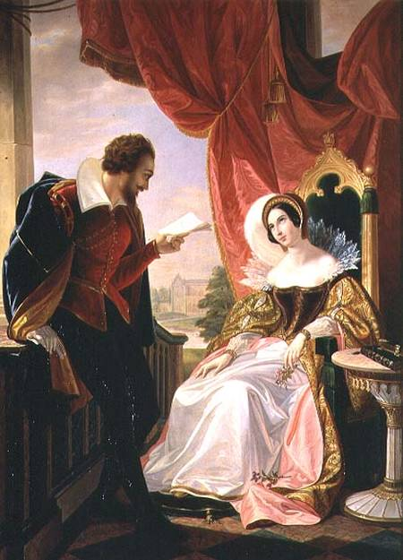 AII80202 Torquato Tasso reading a poem to Leonora d'Este by Mussini, Luigi (1813-88) oil on canvas Galleria d'Arte Moderna, Florence, Italy Italian, out of copyright