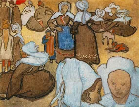 Van Gogh - Les bretonnes et le pardon de Pont Aven