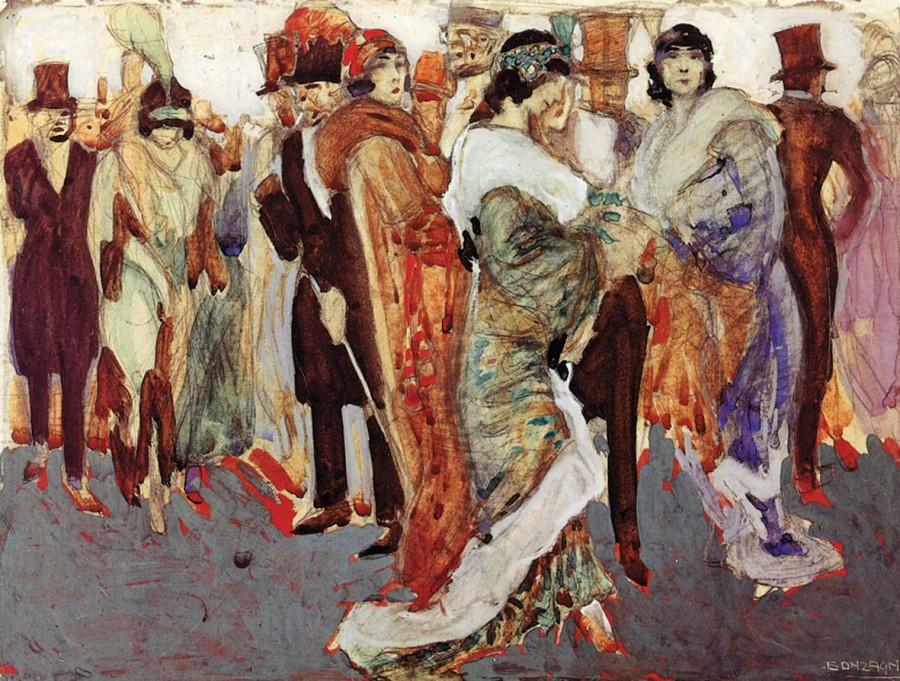 Aroldo Bonzagni - All'uscita della Scala