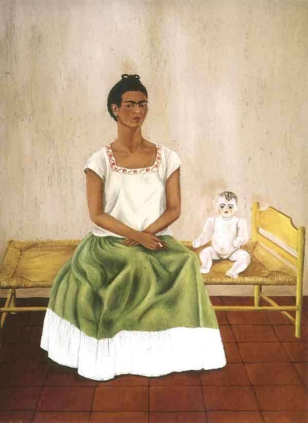 Frida Kahlo - autoritratto seduta a letto